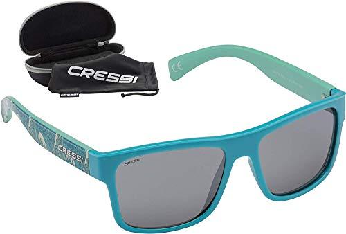 Cressi Unisex-Erwachsene Spyke Sunglasses Sport Sonnenbrillen, Türkis Waves Fantasy/Rauchlinse, Einheitsgröße