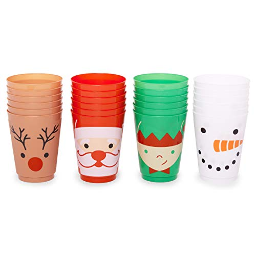 Plastic Cups for Christmas Party Supplies, Reusable Tumblers (16 oz, 24 Pack)