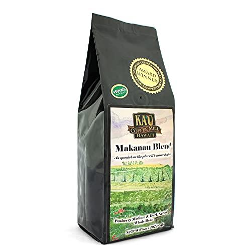 Makanau Blend Medium Dark Roast Whole Bean Ka'u Coffee (8 Ounce), 100% Hawaiian Award Winning Coffee by Ka`u Coffee Mill