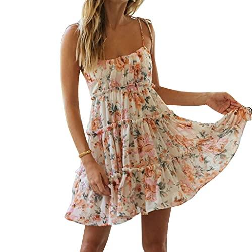 6Wcveuebuc Vestido de verano para mujer, con tirantes de espagueti, sin mangas, con estampado floral bohemio, estampado de lunares fruncido en la espalda con volantes y capa acampanada para la playa