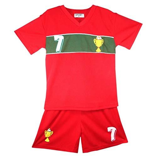 Générique Ensemble de Sport Maillot et Short du Portugal Enfant Rouge Taille 2 à 14 Ans - Rouge - 12 Ans