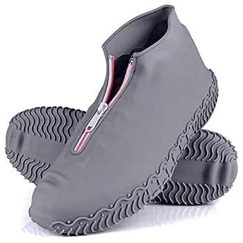 Rehomy Waterproof Shoe Covers Upgrade Reusable Not-Slip Silicone Rain Overshoes with Zipper Outdoor Shoe Protector for Kids Men Women