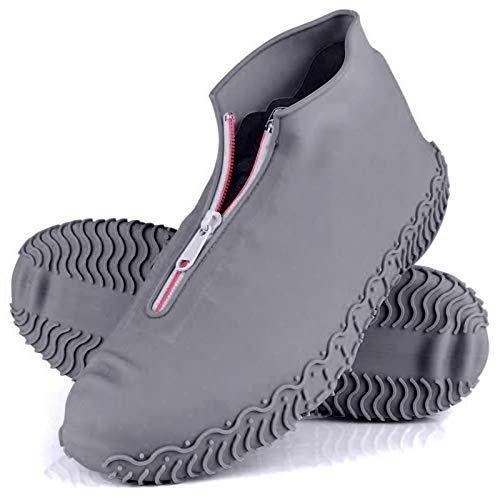 Rehomy Fundas para Zapatos Impermeables, cubrezapatos de Lluvia de Silicona Antideslizantes Reutilizables con Cremallera, Protector de Calzado para Exteriores para niños Hombres Mujeres