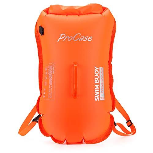 ProCase Schwimmboje Doppelairbags mit 35L Trockensack, Swim Buoy Aufblasbar Boje mit Schultergurt, Sichtbares Signal Schwimm Rucksack zum Sicherheit Boje -Orange