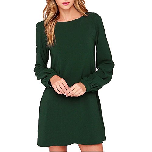 Kword Vestito Donna Elegante, Donne Lavoro Indossare Abiti Casual Manica Lunga Mini Abito Partito Sciolto (Verde, L)