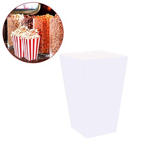 TOYMYTOY Popcorn Tüten,Süßigkeit-Behälter-Kartone Papiertüten für Gastgeschenke,100pcs (weiß)