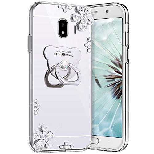 Coque Galaxy J2 Pro 2018,Etui Galaxy J2 Pro 2018 Effet Miroir Coque Silicone TPU + Anneau Support de Téléphone Case Bling Brillante Glitter Paillettes Diamond Strass Fleur Ours Motif Coque,Argent