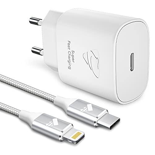 Yosou Cargador USB C,25W Cargador iPhone Carga Rápida PD 3.0 Tipo C Enchufe Adaptador y Cable 2M para Cargador Rapido para iPhone 12/12 Pro/12 Pro Max/11/11 Pro MAX/SE 2020/X/XS/XR/8 Plus/iPad,Movil