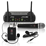 Pyle Dual Channel UHF Wireless Microphone System Handheld MIC, Headset, Belt Pack, Lavelier/Lapel MIC w/ 8 Selectable Frequency Independent Volume Controls AF & RF Signal Indicators (PDWM3378) Black