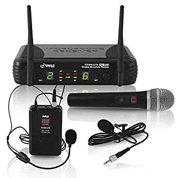 Pyle Dual Channel UHF Wireless Microphone System Handheld MIC Headset Belt Pack Lavelier/Lapel MIC w/ 8 Selectable Frequency Independent Volume Controls AF & RF Signal Indicators  PDWM3378  Black