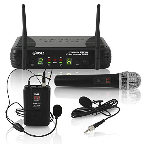 Pyle Dual Channel UHF Wireless Microphone System Handheld MIC, Headset, Belt Pack,...