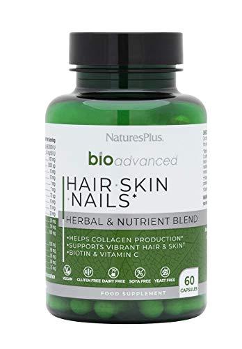 NaturesPlus BioAdvanced Hair Skin Nails, Vegan Collagen Support, Hyaluronic Acid, Turmeric, Sea Buckthorn, Biotin, MSM, Vitamin A, C, E - Dairy, Gluten, Yeast and SOYA Free - Vegan - 60 Capsules
