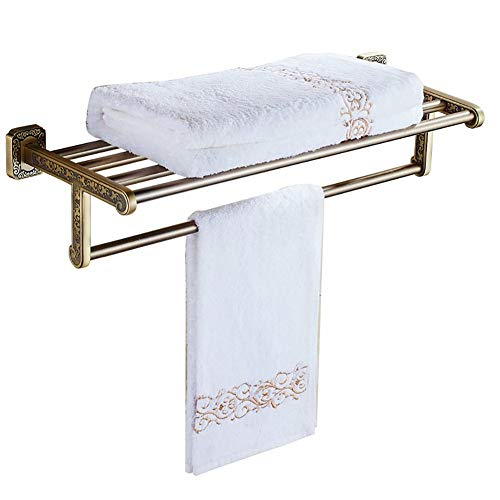 LIJING Retro Handdoek Rack Badkamer Plank Handdoek Hanger Commodity Plank Vintage Antiek Graveren 61cm