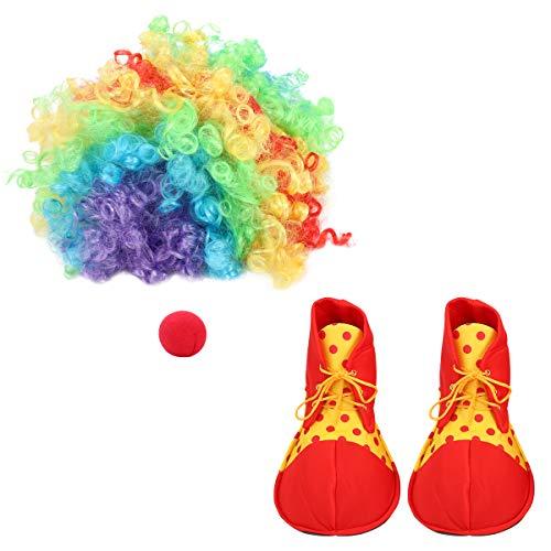 BESPORTBLE Clown Kostüm Perücke und Nase Cosplay Requisiten für Erwachsene Kind Weihnachten Party Dress Up, Karneval, Verrückter Clown Perücke, Bunt,
