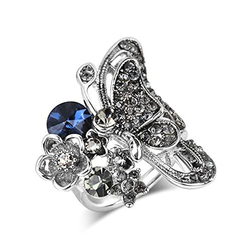 EzzySo Anillo de Ciruela de Mariposa, joyería de Anillo de aleación de Lujo de Moda de Diamante de Moda de Diamante (2 Piezas),10