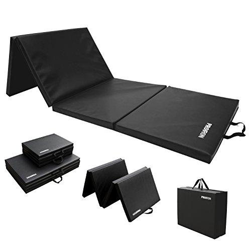 PROIRON Colchoneta Plegable Gimnasi-Ejercicio Mat con Cosido Asas para Ejercicio Yoga Gimnasia 183cm×61cm×4.0cm (Negro)
