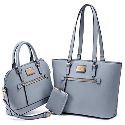 Purses for Women Fashion Handbags Tote Bag Shoulder Bags Top Handle Satchel Purse Set 3pcs Pale Blue