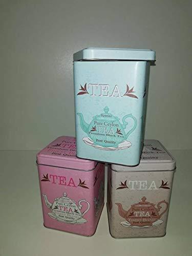 GENERAL TRADE Scatola, Barattolo contentore in Latta per Alimenti Porta Tea, Zucchero, Sale, caffè 12x8x12