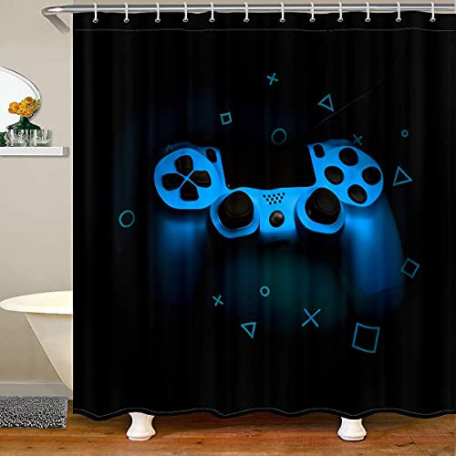 Franala Gamer Blue Gamepad Printed Morden Videogame Controller Game Player Novelty Gaming Action Buttons Shower Curtain with 12 Hooks Polyester Fabric Durable Water Resistant Curtain for Bathtubs