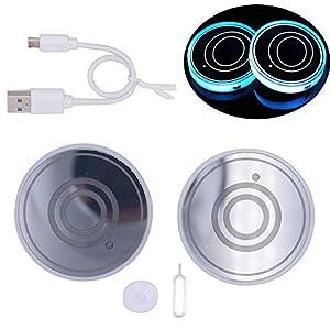 Elige el Nombre de tu Auto VILLSION Impermeable Posavasos Coche Luces led 7 Colores de Carga USB Sostenedor de la Bebida para el Coche Accesorios LED Decoraci/ón de Interiores luz