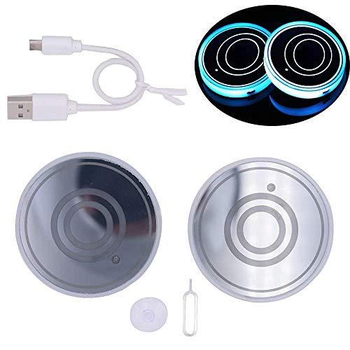 Auto LED Untersetzer, 2 Stück Rundes Muster Logo Multicolor Light Car Coaster,Wird Für Untersetzer Von Getränkebechern Verwendet, Auch Als