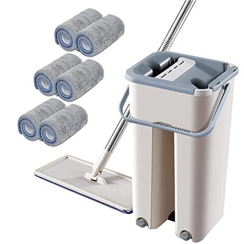 CJMING Flach Mopp, Magic Cleaning Mops, Mikrofaser Flat Mop mit Teleskopstange und Lauf, rotierender Mopp für zu Hause, Doppelkammer Eimer