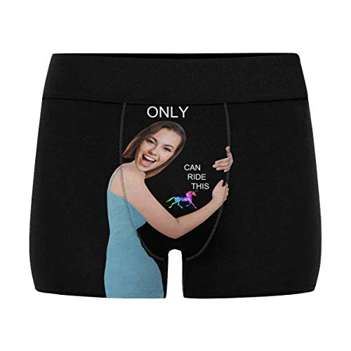Personalized Face Photo Boxer Briefs, Custom Men's Underwear from Your Own Image Only You Can Ride This House Black XL