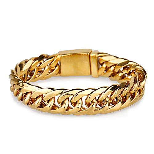 Never Fade Golden Bracelet Men Luxury Thick Chain Pulseras para Hombre Brazaletes Brazalete De Joyería De Acero Inoxidable 316L 22Cm