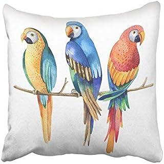 Home Decor Housse de coussin 16 x 16 cm aquarelle tropicale oiseaux aras blancs perroquet aquarelle colorée pour votre des...