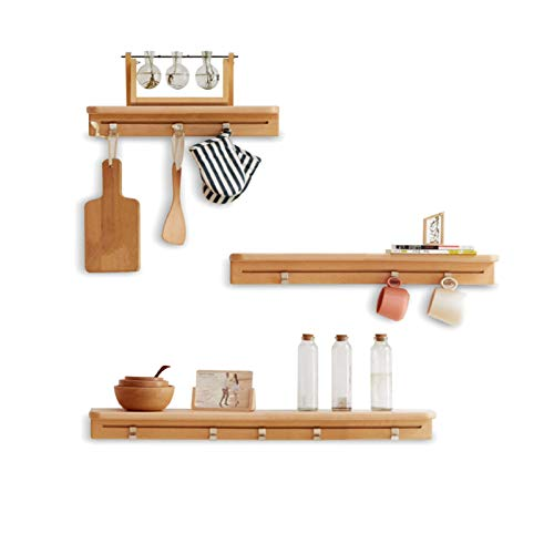 FUFU Three-piece Wooden Wall-mounted Shelf Set With Floating Shelf For Living Room, Office, Bedroom, Bathroom