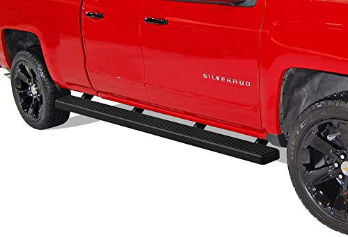 APS Wheel to Wheel Running Board 5in Custom Fit 2007-2018 Chevy Silverado Sierra Double Cab Extended Cab 6.5ft Bed & 2019 2500 HD 3500 HD (Exclude 07 Classic) (Nerf Bars Side Steps Side Bars)