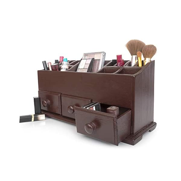 Vanity Drawer Beauty Organizer 3 Drawers – Wooden Cosmetic Storage Box for Neat & Organize Storing of Makeup Tools, Small Accessories at Home & Office Vanities & Bathroom Counter-top