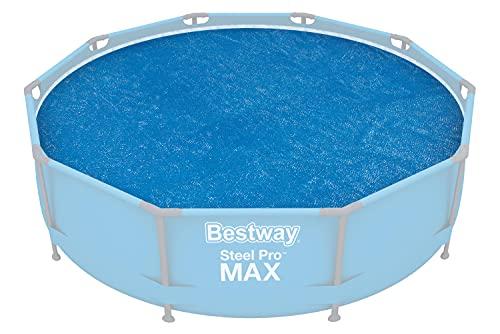 BESTWAY 58241 - Cobertor Solar para Piscina Desmontable Redonda Ø289 cm PVC Resistente al Sol Azul de Fácil Instalación Para Fast Set Ø305 cm, Steel Pro Ø305 cm y Hydrium de Ø300 cm