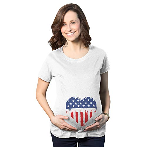 Crazy Dog Tshirts - Maternity USA Heart American Flag Announcement Funny Pregnancy T Shirt (White) - L - Femme