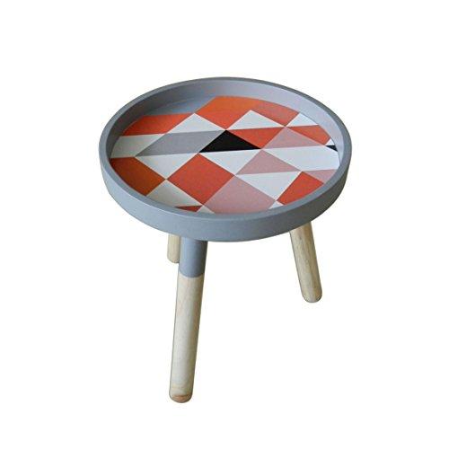 CVHOMEDECO. Moderner tragbarer runder Couchtisch aus Holz Abnehmbarer Kleiner Akzenttisch CKD-Teetisch mit 3 abnehmbaren Beinen. Dia.29,8 X H 34,9 cm
