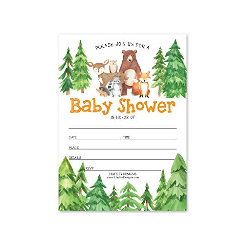 25 Woodland Animals Baby Shower Invitations, Sprinkle Invite For Boy or Girl, Coed Rustic Gender Reveal Neutral Theme, Cute Deer Bunny Fox Fill Write In Blank Printable Card, Bear Party DIY Supplies