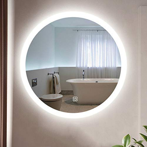 XLTFZY Espejo, Espejo de Maquillaje, Espejo de Baño, Espejo de Escritorio, Interruptores de Sensores de Led Iluminados de la Almohadilla de Calor de la Demisteria | Ronda Montada en la Pared de la Pa