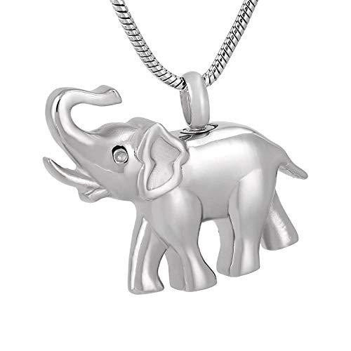 QFV Collar de urna Conmemorativa de Elefante para Hombres y Mujeres, Colgante de cremación de Recuerdo de Acero Inoxidable 316L Cenizas de Animales