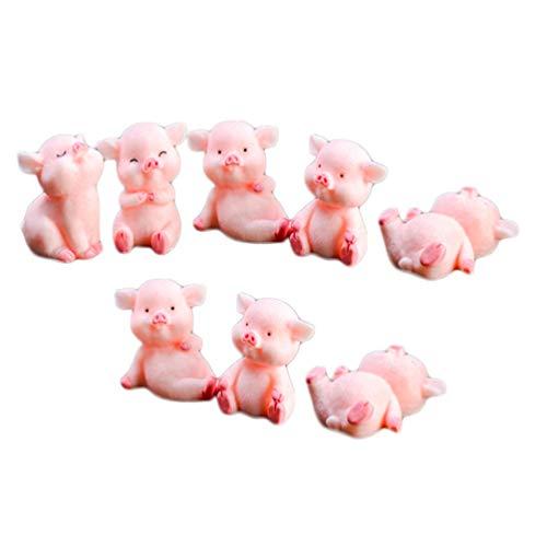DOITOOL 8 Stücke Rosa Mini Schwein Figur Glücksschwein Geburtstag Kuchen Topper Tier Dekofigur Tierfiguren Tortenfigur für Auto Miniatur Garten Deko Micro Landschaft Dekoration(Zufällig)