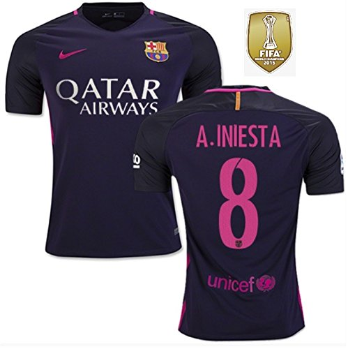 Trikot Herren Nike FC Barcelona 2016-2017 Away WC Badge (Iniesta 8, L)