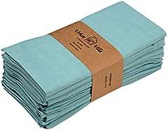 Urban Villa Servilletas para la Cena Uso Diario 100% algodón Juego de 12 servilletas de Tela tamaño 20X20 Pulgadas Aqua/White sobre tamaño Juego de 12 Aqua/Blanco