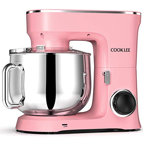 COOKLEE Stand Mixer, 9.5 Qt. 660W 10-Speed Electric Kitchen Mixer with Dishwasher-Safe Dough Hooks, Flat Beaters, Wire Whip & Pouring Shield Attachments for Most Home Cooks, SM-1551, Pink