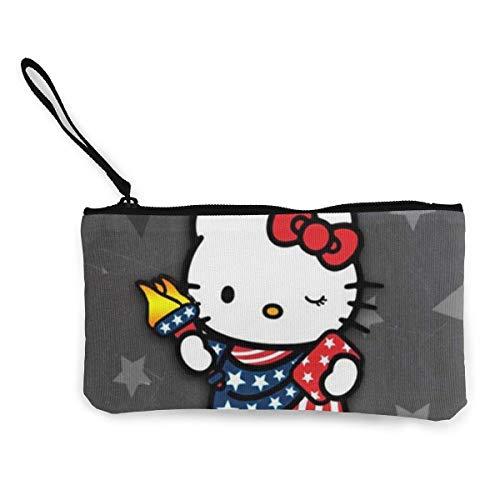 Hello Kitty - Monederos de lona con cierre de cremallera con correa de muñeca para teléfono móvil