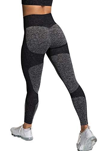 Voqeen Leggings Donna Fitness Yoga Pantaloni Vita Alta Legging Jacquard Palestra Palestra Pilates Anticellulite Corsair Collant-Nero-L