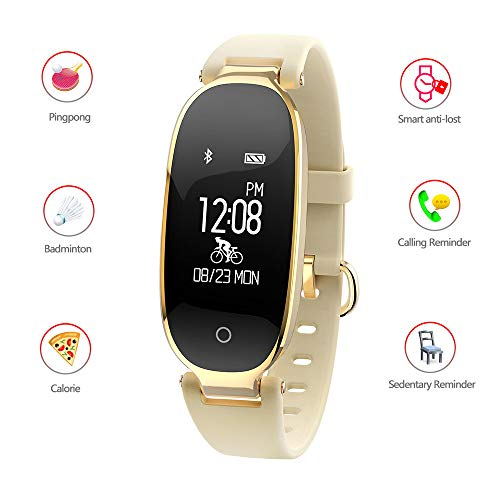 Mengen88 Smart Bracelet Fitness Tracker, Heart Rate Monitor Call Social APP Smart Remind Weather Forecast Multi-Sports-Mode für iOS, Android System,Gold
