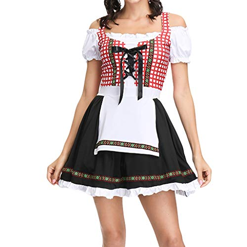 carol -1 2tlg Dirndl-Set Kleid Schürze Mini Trachtenkleid Kostümparty Halloween Performance Karnevalszeit Halloween Rüschenspitzen Kostüm Oktoberfest Dirndlkleid Oktoberfest
