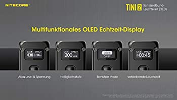 Nitecore TINI2 GR Lampe Porte clé Adulte Unisexe, Noire, 50mm