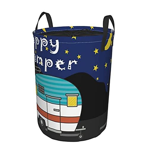 Cesto de lavandería redondo, dibujos animados de camping Happy Camper, cesto de lavandería plegable impermeable con cordón,21.6'X16.5'