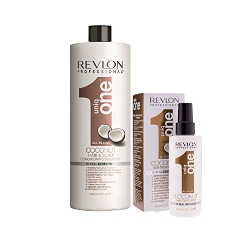 Pack Revlon Uniq One Champu Coconut 1000ml + Tratamiento Coconut 150ml