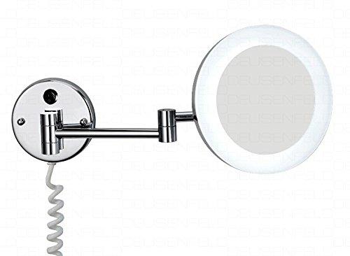 DEUSENFELD KP700 - beleuchteter LED Kosmetikspiegel, PMMA Leuchtfeld satiniert, 7-Fach Vergrößerung, Ø 20cm, MS verchromt, Hell